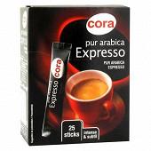Cora café expresso pur arabica  25 sticks x1.8g