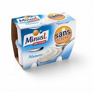 Minus L yaourt nature sans lactose 4x125g