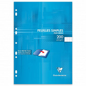 Clairefontaine feuilles simples blanches perforées 21x29.7 200 pages seyes 90g PEFC