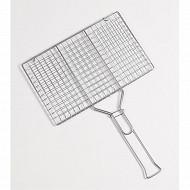 Verciel grille double 34x22 cm acier chromé manche métal pour 6 hamburgers