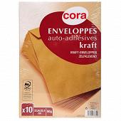 Cora 10 enveloppes kraft pefc auto adhésifs 22.9x32.4 90 grammes sous film