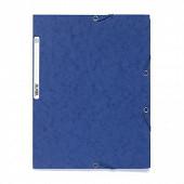Exacompta chemise élastique 3 rabats carte lustrée bleu