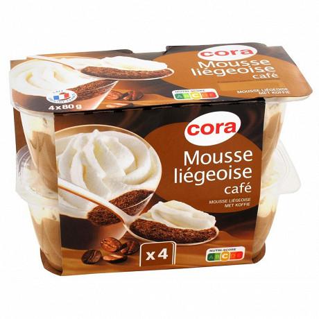 Cora mousse liégeoise dessert lacté cafe 4x80g