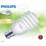 Philips ampoule Tornado T2 B22-23 watts blanc chaud
