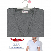 Tee shirt manches courtes col v ligne héritage Eminence 6600 GRIS CHINE T8