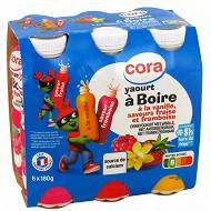 Cora Kido yaourt à boire panaché 3 parfums: saveur fraise, saveur framboise, saveur vanille 6x180g