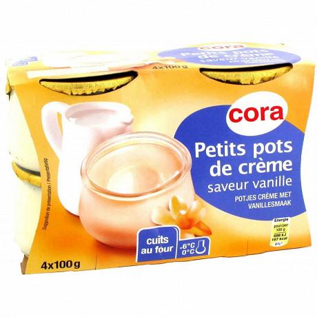Cora dessert lacté petit pot de crème saveur vanille 4x100g