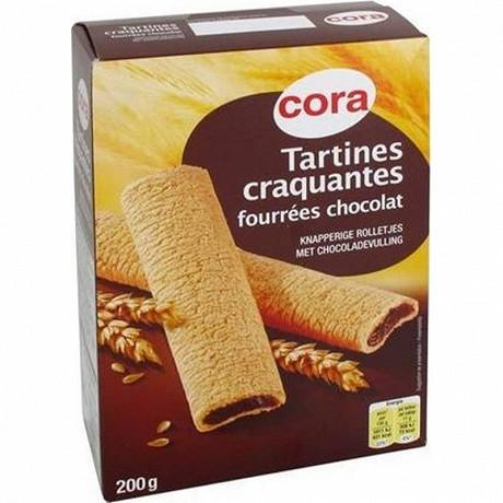 Cora tartines craquantes fourrées chocolat 200g