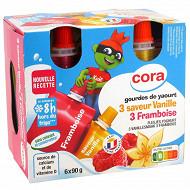 Cora kido gourdes de yaourt 3 framboise et 3 saveur vanille source de vitamine D 6x90g