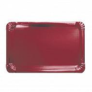 Plats x3 rouge métal rectangulaire 24x33cm
