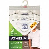 Tee shirt col V lot de 2+1 offert Athena 1951 BLANC/BLANC/BLANC T3