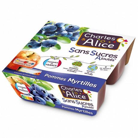 Charles & Alice spécialité de pommes et myrtilles 4x97g sans sucres ajoutés