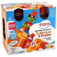 Cora kido gourdes de yaourt 3 fraise et 3 abricot source de vitamine D  6x90g