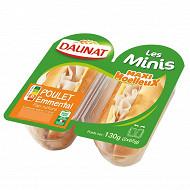 Daunat les Minis: Maxi moelleux poulet emmental 2x65g