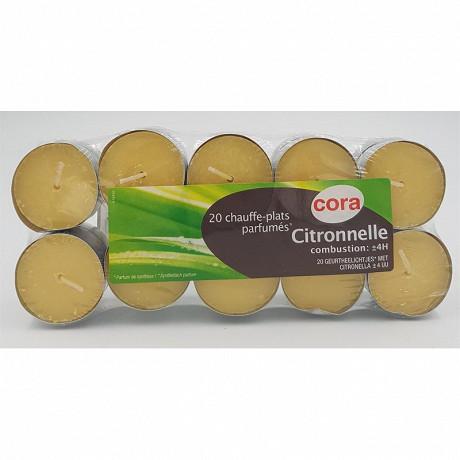 Cora bougies x20 chauffe-plats parfum citronnelle