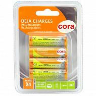 Cora 4 piles rechargeables AA 2050 mAh 1.2V déjà chargées