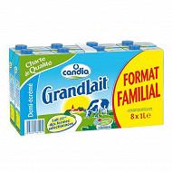 Grandlait demi écrémé brique 8 x 1 litre format familial