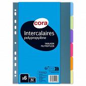 Cora 6 intercalaires 210x297 polypropylène translucide