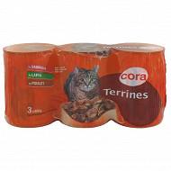 Cora terrine chat saumon lapin poulet 3 x 400 g