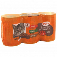 Cora bouchées chat 3x400g lapin légumes boeuf légumes poulet legumes