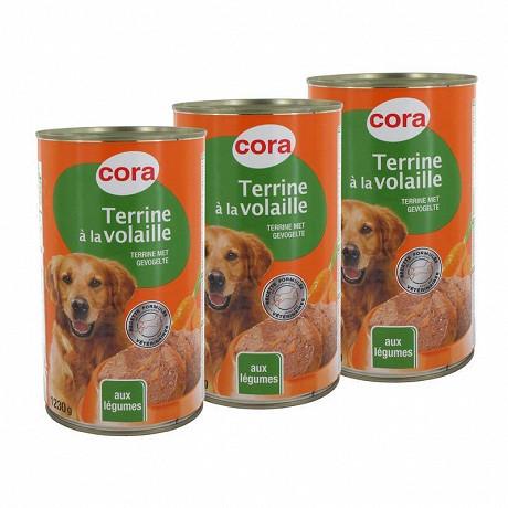 Cora terrine chien volaille/légumes 3x3/2 3690gr