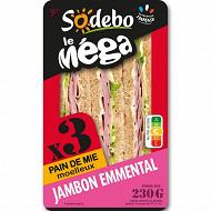 "Sodebo ""Le Méga"" club sandwich complet jambon emmental 230g"