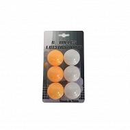 Lot de 6 balles ping pong blanches + oranges