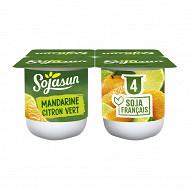 Sojasun spécialité au soja fermentée sucrée à la mandarine et au citron vert 4x100 g