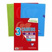 Clairefontaine 3 cahiers piqure 24x32 cm 96 pages grands carreaux 90 grammes