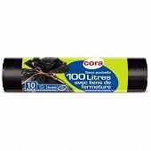 Cora sacs poubelle x10 liens classiques 100l