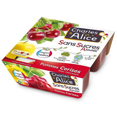 Charles & Alice Charles & Alice spécialité de pommes et cerises 4x97g sans sucres ajoutés