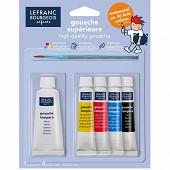 Lefranc & bourgeois 5 tubes gouache 4x10ml + 1x20 ml + 1 pinceau
