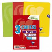 Clairefontaine 3 cahiers piqure 17x22 cm  96 pages grands carreaux 90 grammes metric