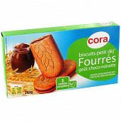 Cora biscuits Petit déj' fourrés goût chocolat noisette 253g