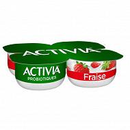 Danone Activia spécialité laitière au bifidus, fromage blanc et fraise 4x120g