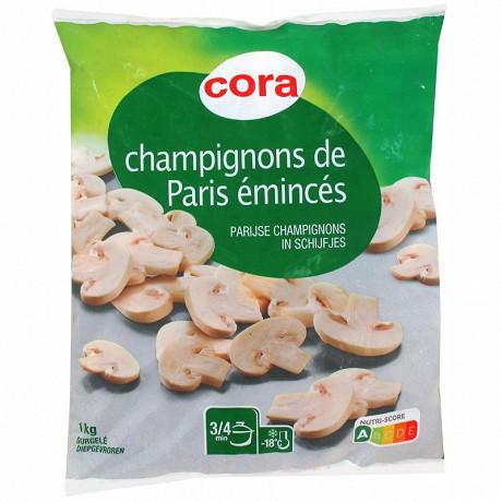 Cora champignons de Paris émincés 1er choix 1kg