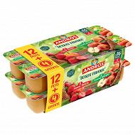 Andros dessert panaché pomme nature + pomme fraise 12x100g +4 offerts