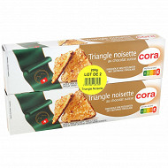 Cora triangle noisettes au chocolat suisse 2 x 100g