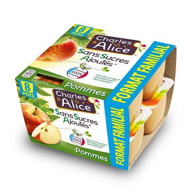 Charles & Alice Charles & Alice purée de pommes 8x100g maxi format sans sucres ajoutés