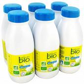 Nature Bio lait demi écrémé biologique stérilisé UHT bouteille 6x50cl