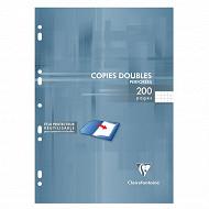 Clairefontaine copies doubles perforées 21x29.7 cm 200 pages 90g petits carreaux