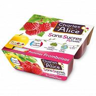 Charles & Alice sans sucre ajouté pomme framboise 4x100g