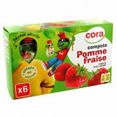 Cora kido gourdes compote de pomme fraise allégée en sucres 6 x 90g
