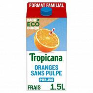 Tropicana orange sans pulpe pur jus 1,5l format familial