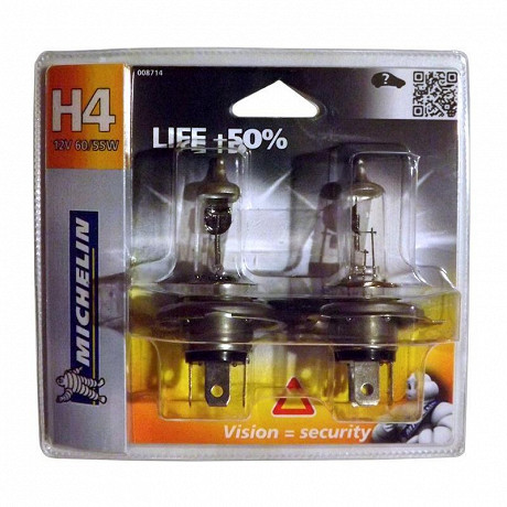 Michelin 2 ampoules H4 life +50% 60/55 watts