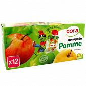 Cora kido gourdes compote de pomme allégée en sucres 12 x 90g