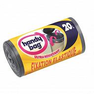 Handy bag sacs poubelle x15 fixation élastique 20litres