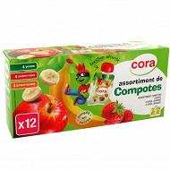Cora kido compotes panachés allégées pomme,pomme fraise et pomme banane 12 x 90g