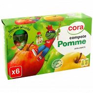 Cora kido gourdes compote de pomme allégée en sucres 6x90g