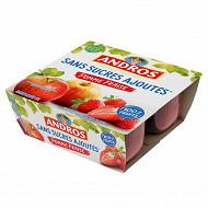 Andros purée de pommes fraises et cassis 4x100g sans sucres ajoutés
